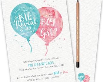 Gender Reveal Invitation- Watercolor / Balloons / Gender Reveal / Blue or Pink / Boy or Girl / Printable