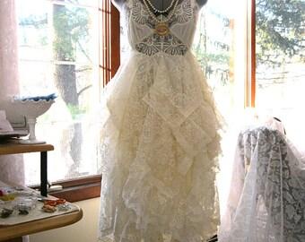 S-M Creamy ivory alternative bride tattered boho gypsy hippie wedding dress, vintage laces, size 8 - 10, small -medium, by Lily Whitepad