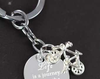 Cyclist Keychain, Custom Engraved Bicycle Inspirational Gift, Life is a Journey Enjoy the Ride, Engraved Keychain