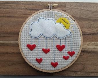Love Drops - Embroidery Hoop Art