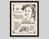 Florence Nightingale, Vintage Art Print, Classroom Art, Nursing Student Gift, Educational Art, Gift for Nurse, Nursing, Women in History