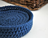 Blue Coasters Modern Mug Rugs with Basket Home Decor Rustic Design Crocheted Accessories Custom Colors