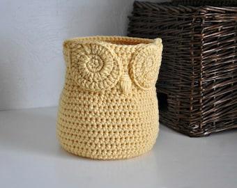 Yellow Owl Basket Crocheted Bin Yarn Holder Gender Neutral Woodland Nursery Decor Modern Home Organizer