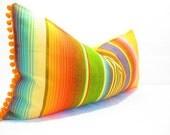 Bohemian decor, Mexican Pillows, Tribal  Aztec Cushion, Mexican Cushion, Yellow Pillows, Serape Pillow, Southwestern pillows, pom pom,