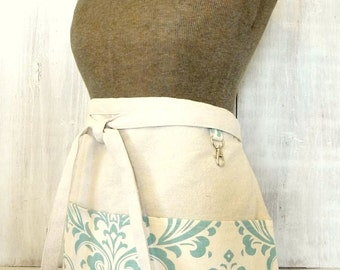 Women's Apron - Natural and Blue Damask Half Apron- Vendor - Crafter - Busy Mom Apron