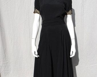 Vintage 40's dress paneled full skirt sheer lace top black dress american mid century design rockabilly by thekaliman