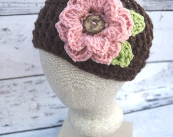 Adult Flower Headband, Kids to Adult Sizes, Winter Head wrap, Fall Headband, Women's Ear Warmers, Women's Headband, Winter Ear Warmers
