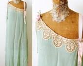 Vintage 1920s mint green lace slip//Ribbonwork rosettes/Repurpose