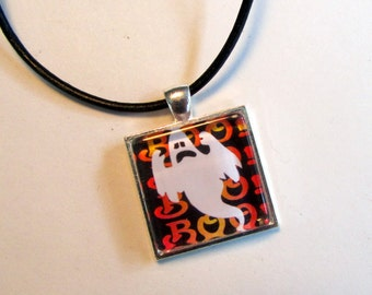 Halloween Pendant Necklace with Black Leather Cord Necklace, Halloween Jewelry, Halloween Necklace, Ghost Necklace