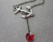 Heart at Sea Necklace by SBC Ox Sterling Silver Plated Brass Anchor, Gunmetal Chain, Sideways Anchor, Anchor Heart Necklace, Red Heart