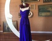 Botanical Iris Blue- Last of Fabric- Octopus Convertible Infinity Wrap Dress- Bridesmaids, Maternity, Prom, Tardis Blue.
