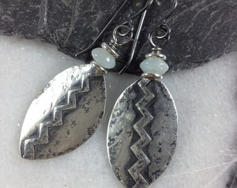 Silver shield earrings with aquamarine , tribal shields