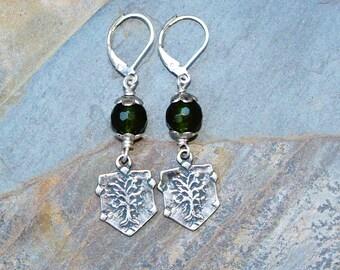 Jade Earrings, Tree Earrings, Silver Earrings, Dark Green Earrings, Olive Green Earrings, Stone Earrings, Handmade Earrings, Dangly Earrings