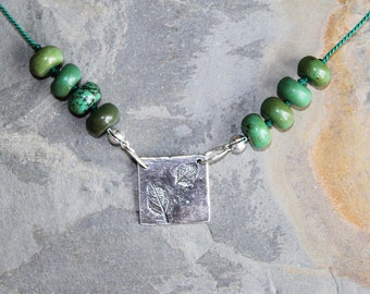 Green Leaf Necklace, Green Necklace, Stone Necklace, Fall Necklace, Jasper Necklace, Autumn Necklace, Handmade Necklace, Rustic Necklace
