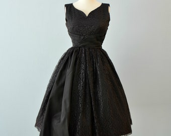 Vintage 1950s Party Dress...CANDY JRS. Black Lace Party Dress Cocktail Dress LBD