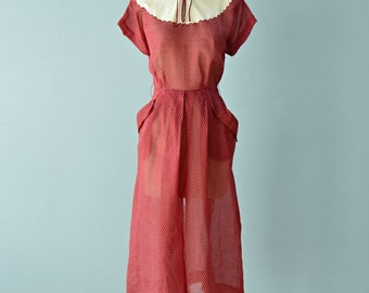 1940s Day Dress...TOMMIE AUSTIN Semi Sheer Merlot Day Dress Dead Stock