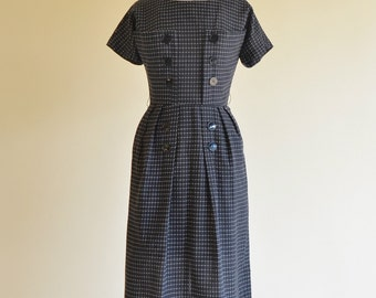 Vintage 1950s Day Dress...Classic Black and White Cotton Day Dress