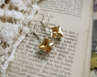 Champagne Diamonds, Stunning Pale Champagne Topaz Square Diamond Crystal Rhinestone Earrings by Hollywood Hillbilly