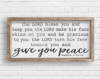 May the Lord Bless You and Keep You  Numbers 6:24-26  Scripture Verse  Typography Word Art Sign on Wood