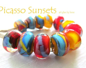 SRA Designer Handmade Lampwork Beads Artisan Glass Beads by Leese