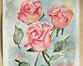 Original Watercolor Painting, Rose Painting, Bedroom Decor, Valentines Gift, Cottage Wall Decor, Flower Painting, Girls Wall Art