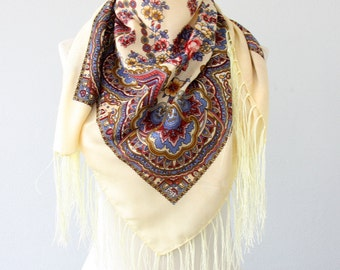 Russian scarf cream russian shawl vanilla bohemian scarf fringe shawl floral ukraine scarf christmas gift for her winter fashion scarves