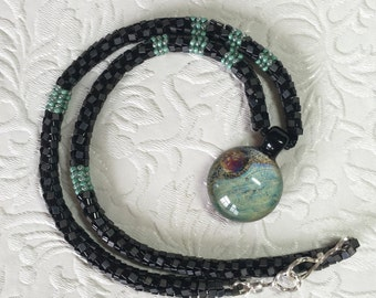 Black and Turquoise Rope Necklace