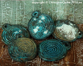 Turquoise Patina Labryinth Disk Rustic Crusty Etched Verdigris Tribal Pendant Disk -  Design from Greek Coin -  LD-ETP