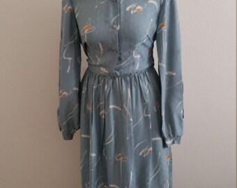 1970s Shirtwaist Silk Dress, Abstract Print Long Sleeve Silk Dress, Elastic Waist Dress, Size 40 Bust, #59584
