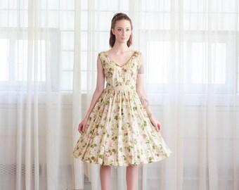Vintage 1950s Floral Dress - 50s Fit & Flare Dress - Secret Recipe Dress