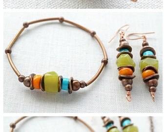Summer Outdoors Bohemian Turquoise Earrings Jade Coral Earrings Boho Jewelry Rustic Gemstone Earrings Stone Earrings Tribal Copper Earrings