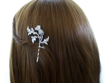 Hair Pin Hair Accessories Hair Clip Bobby Pin Vintage Style Bridal Hair Accessories Silver Leaf Scottish Thistle Scotland Womens Unique Gift