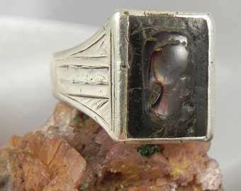 Antique Dead Pawn Sterling Hand Carved Spartan Warrior Ring
