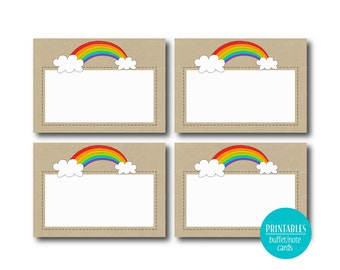 Kraft Rainbow Buffet Labels |  Printable Labels or Buffet Cards  | Rainbow Party - Instant download  1081