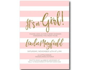 It's a Girl Baby Shower Invitation | Glitter  invite | Invitation |  BabyShower | Faux Glitter  Printable 0506