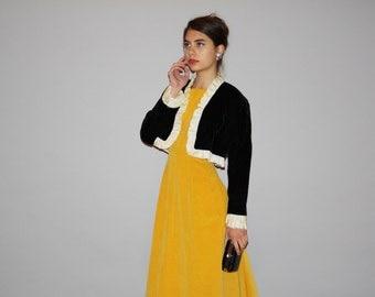 1950s Vintage Black Velvet with White Satin Ruffle Sleeve Cuff Cropped Bolero Jacket   -  Vintage  50s Bolero Jacket   - WO0662