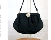 1930s Black Silk Purse. Evening bag. Diamanté Clasp. Internal Mirror. Art Deco.