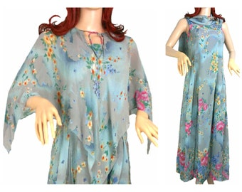 SALE 1970s vintage dress and matching capelet, floral print fabric.  50s 40s style