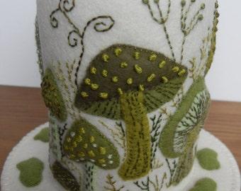 Green Mushrooms and Toadstools - Cream Felt Pincushion