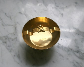 Mid Century Atomic Brass Bowling Ashtray Trophy Award Catchall 1950's 1960's