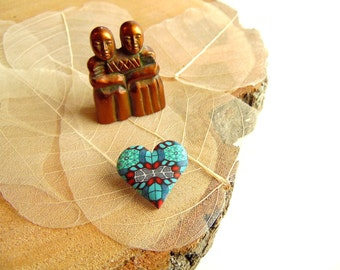Mini Valentines Day Heart Shaped Brooch, Intricate Fimo Professional Polymer Clay, Supremily Jewellery