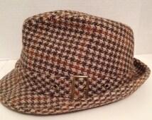 Stetson Hat Vintage Fedora Size 7 3/8 Tan Plaid