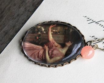 Psyche Entering Cupids Garden Necklace. John William Waterhouse. (magnifying pendant art illustration jewelry antique romantic jewellery)