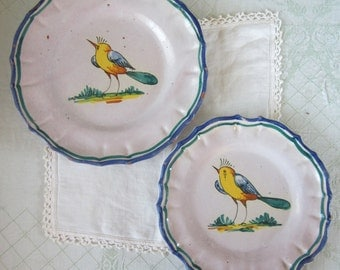 SALE - 2 Rustic Italian Plates  Hand-Painted with Bird Motif Vintage Antique 1930s Display - 10% off