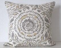 Ethan Allen Micah Stone linen floral medallion gray decorative pillow cover