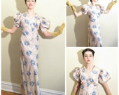 Vintage 30s Evening Dress in Floral Print Rayon / 1930s Satin Party Dress with Puffed Sleeves in Pink and Blue / Medium