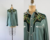 1960s Teal Western california blouse / 60s ranch wear