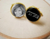 Gold Photo Message Cufflinks  -  Custom gold plated cuff links for Dad or Grandpa w Your Baby or Child Pictures and Date or Custom Text