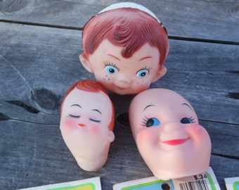 """Doll crafting vintage lot of 3 pairs baby hands 3 heads to attach to stryofoam balls hands made Hong Kong measure 1 1/4"""" heads 2 1/2"""""""