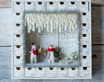 Wooden Christmas Advent Calendar with Numbered Boxes - Snowy Mice